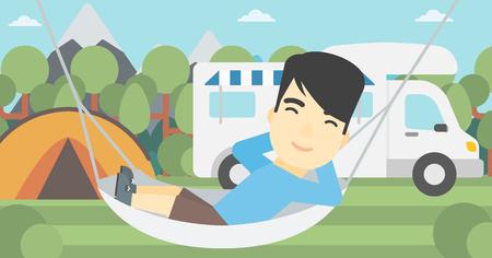 základní: Asijský muž ležící v houpací síti před motorovým domem. Muž odpočívá v houpací síti a užívat si dovolenou v camper van. Vektorové ilustrace plochého designu. Horizontální uspořádání.