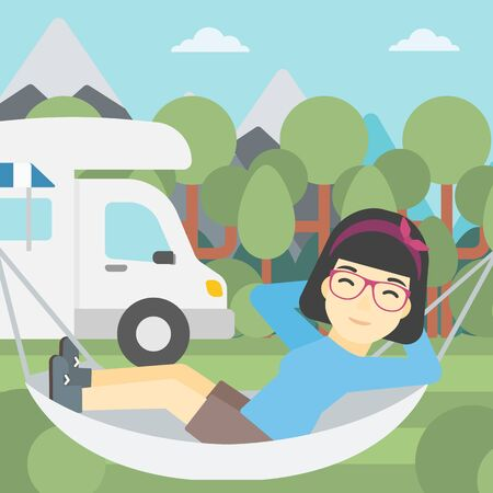 motor home: An asian woman lying in hammock in front of motor home in the forest. Woman resting in hammock and enjoying vacation in camper van. Vector flat design illustration. Square layout.