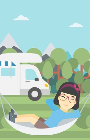 motor home: An asian woman lying in hammock in front of motor home in the forest. Woman resting in hammock and enjoying vacation in camper van. Vector flat design illustration. Vertical layout.