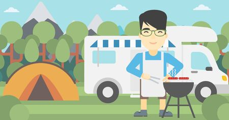 An asian man cooking meat on barbecue on the background of camper van. Man travelling by camper van and having barbecue party. Vector flat design illustration. Horizontal layout.