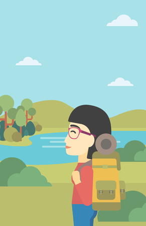 woman hiking: An asian woman with backpack enjoying the view of landscape with mountains and lake. Vector flat design illustration. Vertical layout. Illustration