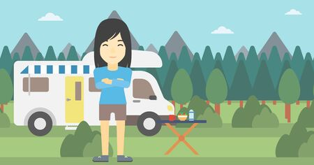 motor home: An asian woman standing in front of motor home. Woman with arms crossed enjoying vacation in camper van. Woman travelling by camper van. Vector flat design illustration. Horizontal layout.