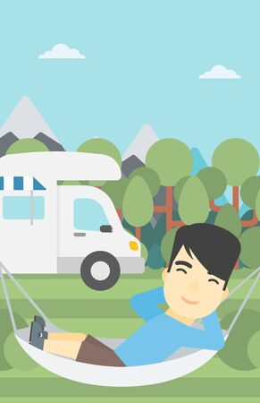 motor home: An asian man lying in a hammock in front of motor home. Man resting in hammock and enjoying vacation in camper van. Vector flat design illustration. Vertical layout.