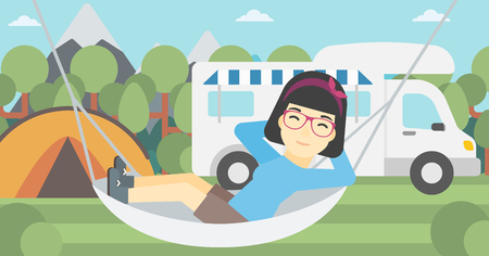 motor home: An asian woman lying in hammock in front of motor home in the forest. Woman resting in hammock and enjoying vacation in camper van. Vector flat design illustration. Horizontal layout. Illustration