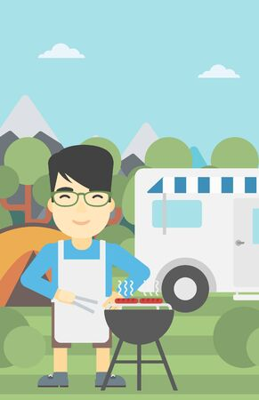 An asian man cooking meat on barbecue on the background of camper van. Man travelling by camper van and having barbecue party. Vector flat design illustration. Vertical layout. Illustration