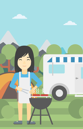 An asian woman cooking meat on barbecue on the background of camper van. Woman travelling by camper van and having barbecue party. Vector flat design illustration. Vertical layout.