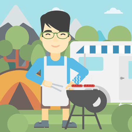 An asian man cooking meat on barbecue on the background of camper van. Man travelling by camper van and having barbecue party. Vector flat design illustration. Square layout. Illustration