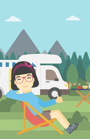 An asian woman sitting in folding chair and giving thumb up on the background of camper van. Woman enjoying vacation in camper van. Vector flat design illustration. Vertical layout.