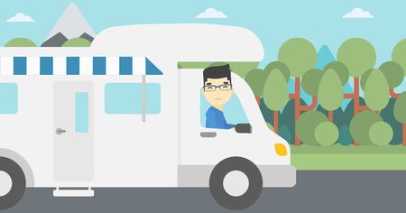 motor home: An asian man driving a motor home in the forest. Man travelling by camper van. Vector flat design illustration. Horizontal layout.