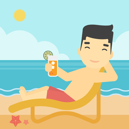longue: An asian man sitting in chaise longue and holding a cocktail in hand on the background of sand beach with blue sea. Vector flat design illustration. Square layout.