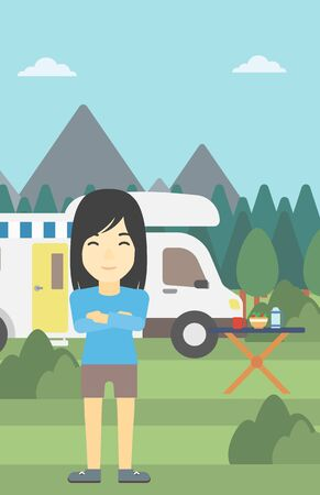 motor home: An asian woman standing in front of motor home. Woman with arms crossed enjoying vacation in camper van. Woman travelling by camper van. Vector flat design illustration. Vertical layout.