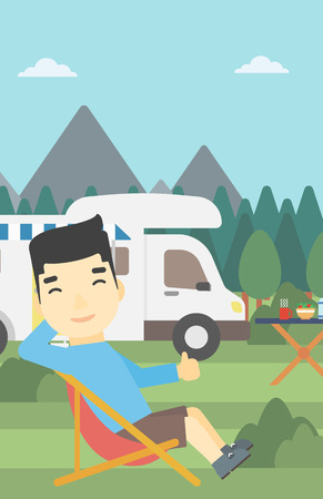 An asian man sitting in a folding chair and giving thumb up on the background of camper van. Man enjoying vacation in camper van. Vector flat design illustration. Vertical layout.