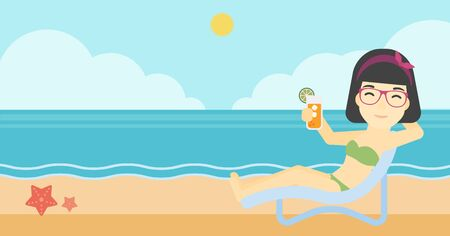 An asian woman sitting in a chaise longue and holding a cocktail in hand on the background of sand beach with blue sea. Vector flat design illustration. Horizontal layout. Illustration