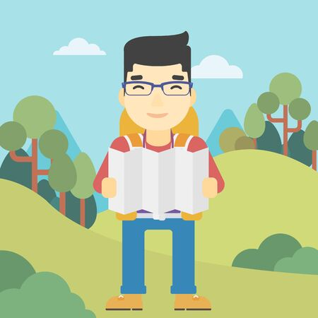 Traveler with backpack looking at map. An asian man travelling in mountains. Traveler searching right direction on map. Vector flat design illustration. Square layout.