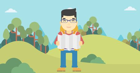 Traveler with backpack looking at map. An asian man travelling in mountains. Traveler searching right direction on map. Vector flat design illustration. Horizontal layout.