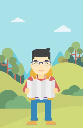 Traveler with backpack looking at map. An asian man travelling in mountains. Traveler searching right direction on map. Vector flat design illustration. Vertical layout. Ilustrace