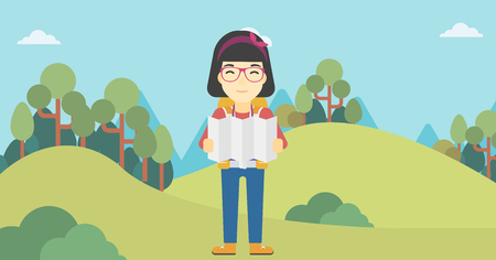 Traveler with backpack looking at map. An asian woman travelling in mountains. Traveler searching right direction on map. Vector flat design illustration. Horizontal layout.