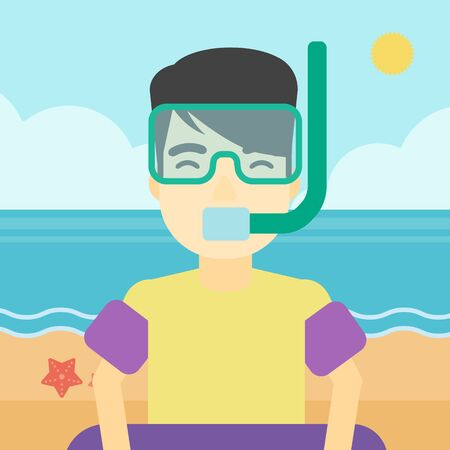 rubber ring: An asian man in mask, tube and rubber ring standing on the background of beach and sea. Man wearing snorkeling equipment on the beach. Vector flat design illustration. Square layout. Illustration