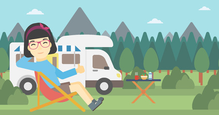 An asian woman sitting in folding chair and giving thumb up on the background of camper van. Woman enjoying vacation in camper van. Vector flat design illustration. Horizontal layout.