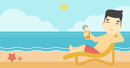An asian man sitting in chaise longue and holding a cocktail in hand on the background of sand beach with blue sea. Vector flat design illustration. Horizontal layout.