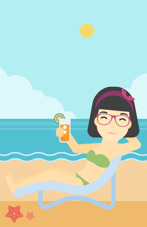 longue: An asian woman sitting in a chaise longue and holding a cocktail in hand on the background of sand beach with blue sea. Vector flat design illustration. Vertical layout.