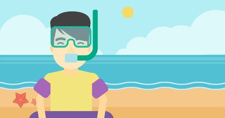 rubber ring: An asian man in mask, tube and rubber ring standing on the background of beach and sea. Man wearing snorkeling equipment on the beach. Vector flat design illustration. Horizontal layout. Illustration