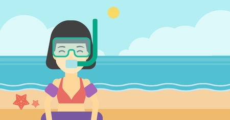 rubber tube: An asian woman in mask, tube and rubber ring standing on the background of beach and sea. Woman wearing snorkeling equipment on the beach. Vector flat design illustration. Horizontal layout.