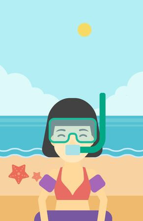 rubber ring: An asian woman in mask, tube and rubber ring standing on the background of beach and sea. Woman wearing snorkeling equipment on the beach. Vector flat design illustration. Vertical layout.