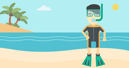 flippers: An asian man in diving suit, flippers, mask and tube standing on the beach. Male scuba diver on the beach. Man enjoying snorkeling. Vector flat design illustration. Horizontal layout.