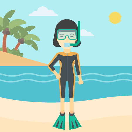 flippers: An asian woman in diving suit, flippers, mask and tube standing on the beach. Female scuba diver on the beach. Woman enjoying snorkeling. Vector flat design illustration. Square layout.