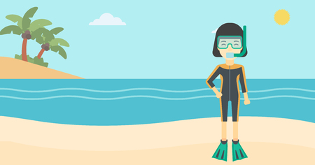 flippers: An asian woman in diving suit, flippers, mask and tube standing on the beach. Female scuba diver on the beach. Woman enjoying snorkeling. Vector flat design illustration. Horizontal layout.