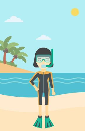 An asian woman in diving suit, flippers, mask and tube standing on the beach. Female scuba diver on the beach. Woman enjoying snorkeling. Vector flat design illustration. Vertical layout. Illustration
