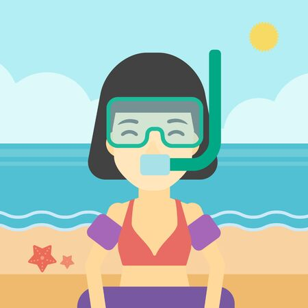 rubber tube: An asian woman in mask, tube and rubber ring standing on the background of beach and sea. Woman wearing snorkeling equipment on the beach. Vector flat design illustration. Square layout.
