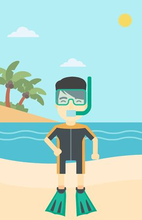 flippers: An asian man in diving suit, flippers, mask and tube standing on the beach. Male scuba diver on the beach. Man enjoying snorkeling. Vector flat design illustration. Vertical layout.