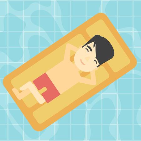 Een Aziatische man ontspannen op het luchtbed in het zwembad. Een Aziatische man genieten van zijn vakantie. Vector platte ontwerp illustratie. Vierkante lay-out.