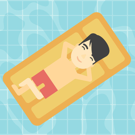 An asian man relaxing on the air bed in the swimming pool. An asian man enjoying his vacation. Vector flat design illustration. Square layout.