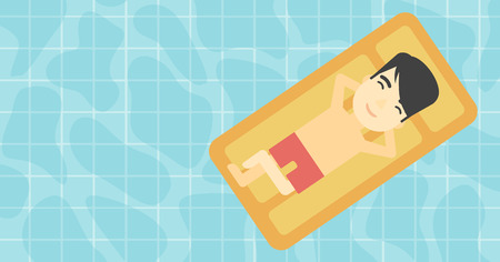 floating: An asian man relaxing on the air bed in the swimming pool. An asian man enjoying his vacation. Vector flat design illustration. Horizontal layout.