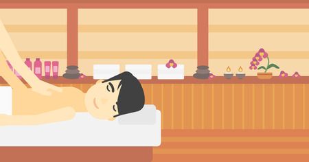 An asian man getting a back massage in the spa center. Man having back massage in the spa salon. Vector flat design illustration. Horizontal layout.
