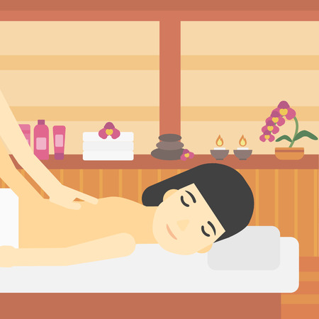 An asian woman getting a back massage on the background of spa center. An asian woman having back massage in the spa salon. Vector flat design illustration. Square layout. Illustration