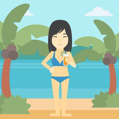 An asian woman holding an orange cocktail on the beach. Woman drinking a cocktail on the beach. Woman enjoying her vacation. Vector flat design illustration. Square layout.