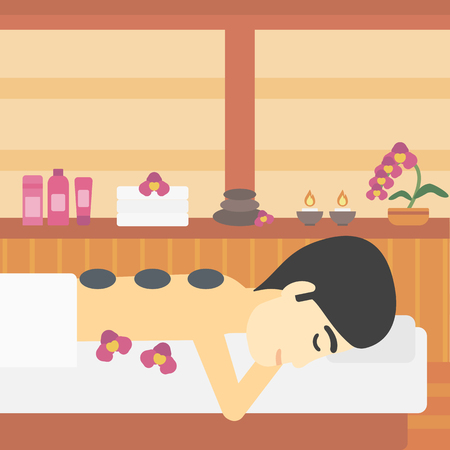An asian man relaxing while getting stone therapy massage in the spa center. Man having back massage in spa salon. Vector flat design illustration. Square layout.