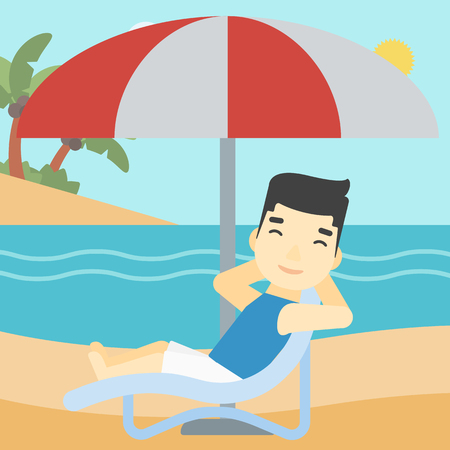 sunbath: An asian man sitting in a chaise longue on the beach. An asian man relaxing while sitting under umbrella on the beach. Vector flat design illustration. Square layout.