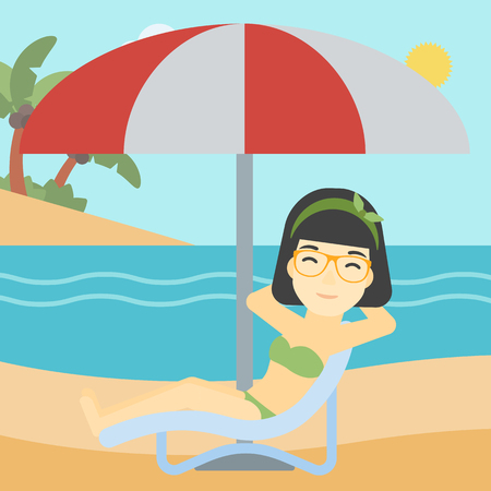 chaise longue: An asian woman sitting in a chaise longue on the beach. Woman sitting under umbrella on the beach. Woman relaxing on beach chair. Vector flat design illustration. Square layout.