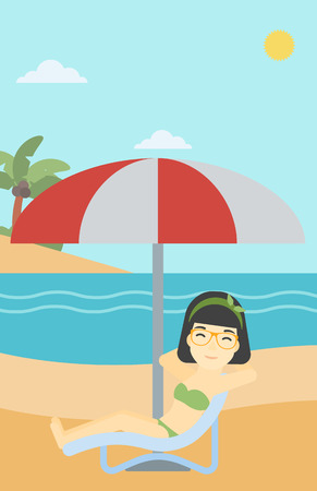 An asian woman sitting in a chaise longue on the beach. Woman sitting under umbrella on the beach. Woman relaxing on beach chair. Vector flat design illustration. Vertical layout. Vettoriali