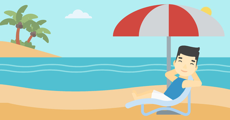 An asian man sitting in a chaise longue on the beach. An asian man relaxing while sitting under umbrella on the beach. Vector flat design illustration. Horizontal layout. Illustration