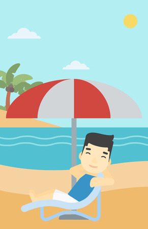 chaise longue: An asian man sitting in a chaise longue on the beach. An asian man relaxing while sitting under umbrella on the beach. Vector flat design illustration. Vertical layout. Illustration