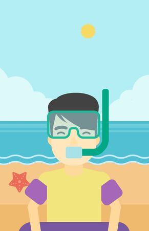 rubber ring: An asian man in mask, tube and rubber ring standing on the background of beach and sea. Man wearing snorkeling equipment on the beach. Vector flat design illustration. Vertical layout.