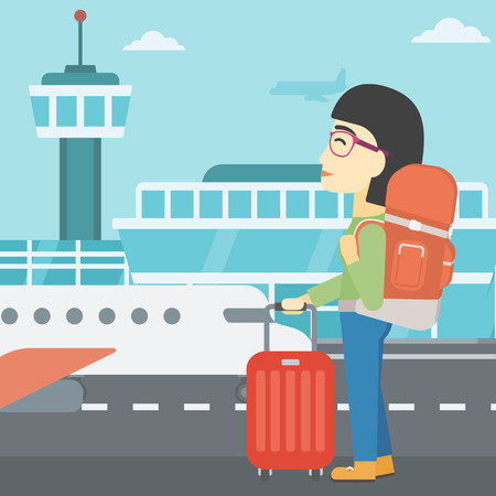 An asian woman at the airport with backpack and a suitcase. Woman standing at the airport and looking at the flying airplane. Vector flat design illustration. Square layout.