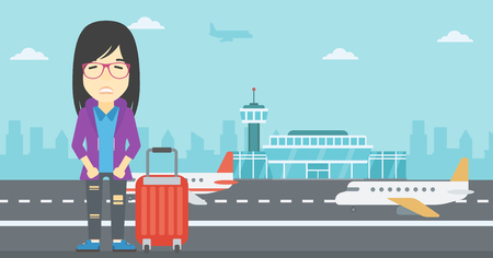 phobia: An asian woman frightened by future flight. Woman standing at airport and suffering from fear of flying. Phobia, fear of flying concept. Vector flat design illustration. Horizontal  layout.