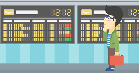 departure board: An asian young man with a briefcase looking at departure board at the airport. Passenger standing at the airport in front of departure board. Vector flat design illustration. Horizontal layout.
